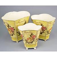 """Комплект вазонов для цветов """"Прованс"""" F0110, в наборе 3 шт, металл, вазон для комнатных растений, горшок для растений"""