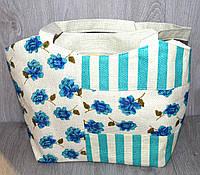 Пляжная, городская сумка с цветочным принтом, бирюзовая