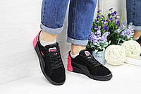 Кроссовки женские черные с малиновым Puma Pigeon 4536