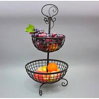 "Фруктовница металлическая для фруктов ""Orange"" HX8260, размер 30x25 см, двухъярусная, корзинка для фруктов, ваза под фрукты, посуда для фруктов"