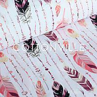 Хлопковая ткань Перья с бусинами персик