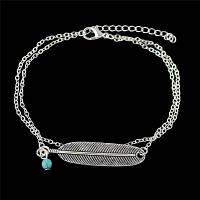 Богемный стиль Layered Поддельный Бирюзовый бисера перо Anklet для женщин Серебристый