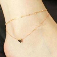 Чувствительная Позолоченные сплошной цвет мини шарма сердца Anklet для женщин Золотой