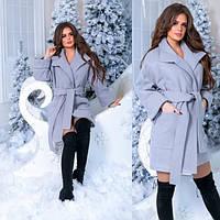Утепленное кашемировое пальто на подкладке с поясом