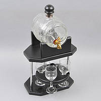 "Бар - бочка для напитков ""Barista"" TT6708, размер бара 25x22x14 см, дерево / стекло, 4 рюмки, домашний бар, бар бочка, бар-бочка"