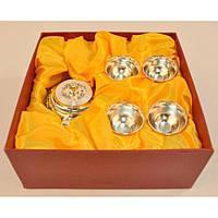 """Набор посуды для чаепития """"Teatime"""" M9003, размер 21х21х9 см, в комплекте чайник, 4 чашки, мельхиор, в коробке, чайный набор, чайный сервиз"""