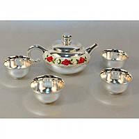 """Набор посуды для чаепития """"Rose"""" M9004, размер 21х21х9 см, в комплекте чайник, 4 чашки, мельхиор, в коробке, чайный набор, чайный сервиз"""
