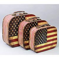 """Чемодан деревянный для вещей """"USA"""" TL438, в комплекте 3 штуки, чемодан для предметов, чемодан в дорогу"""