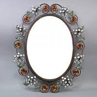 "Зеркало настенное для декора ""Roses"" W717, металл, размер зеркала 63х46 см, размер с рамкой 83х67 см, зеркало декоративное, зеркало в прихожую"