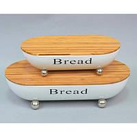"""Набор хлебниц для хранения хлебо-булочных изделий """"Bread"""" CF709, в наборе 2 штуки, металл / бамбук, булочница, контейнер для хлеба"""
