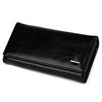 Элегантный кошелек женский черный на кнопке (6608 black)  TN