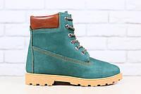 Зимние женские ботинки, из натурального нубука, на меху, на шнурках, изумрудные