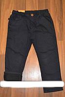 Котоновые брюки для мальчиков на флисе  темно синие 104 см
