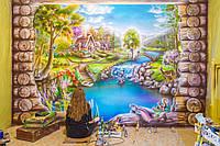 Интерьерная роспись стен в игровой (Домик у горной реки)