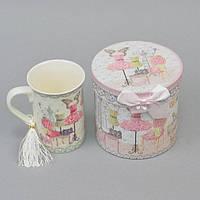 """Чашка фаянсовая для напитков """"Dress"""" CK094, размер 11х8 см, объем 250 мл, в подарочной коробке, чашка для чая, посуда для чая"""