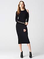 Платье по фигуре черное асимметрическое