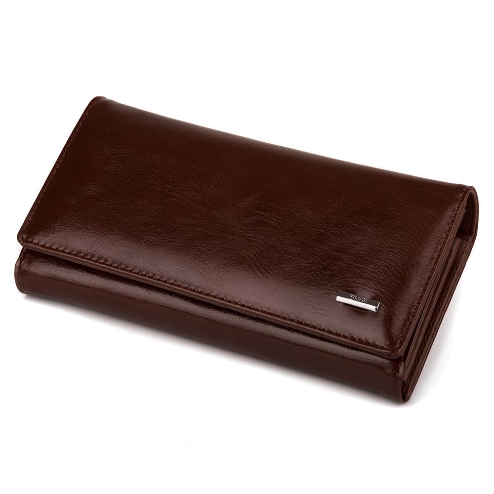 f31e5f925df3 Элегантный кошелек женский коричневый на кнопке (6608 coffee ...