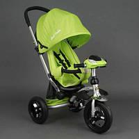 Детский трехколёсный велосипед коляска Бест Трайк Best Trike 698 салатовый с фарой. Надувные колёса.