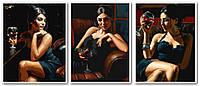 Картины по номерам 50х120 см.  Саба с бокалом красного вина Художник Фабиан Перез