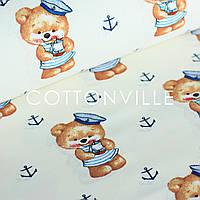 Хлопковая ткань Мишки-морячки фон экрю