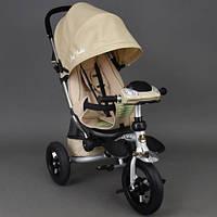 Детский трехколёсный велосипед коляска Бест Трайк Best Trike 698 бежевый с фарой. Надувные колёса.
