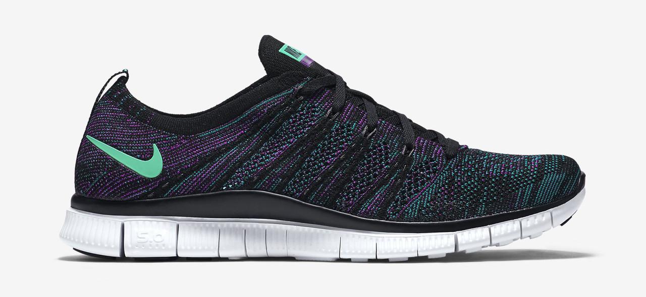 Мужские кроссовки NIke Free Run 5.0 flyknit черно фиолетовые