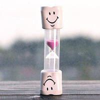 Творческий улыбающееся лицо 5-минутный таймер Чистку Песочные часы для детей Розовый