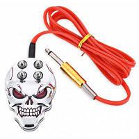 Педальный переключатель источник питания для машинки для татуажа с дизайном черепа Серебристый Белый