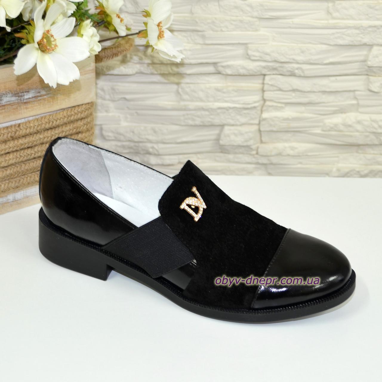 Туфли женские черные на низком ходу, натуральная замша и лак
