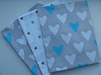 Хлопковая пеленка Бело-голубые сердечки