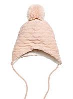 Детская зимняя вязанная шапка на флисовой подкладке