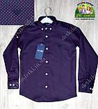 Стильная рубашка ARMANI с длинным рукавом для мальчика 7-8 лет, темно-синяя, фото 2