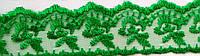 """5526 Кружево на органзе """"Яблочко""""4 см (темно-зеленый)"""