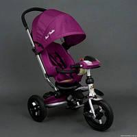 Детский трехколёсный велосипед коляска Бест Трайк Best Trike 698 фиолетовый с фарой. Надувные колёса.