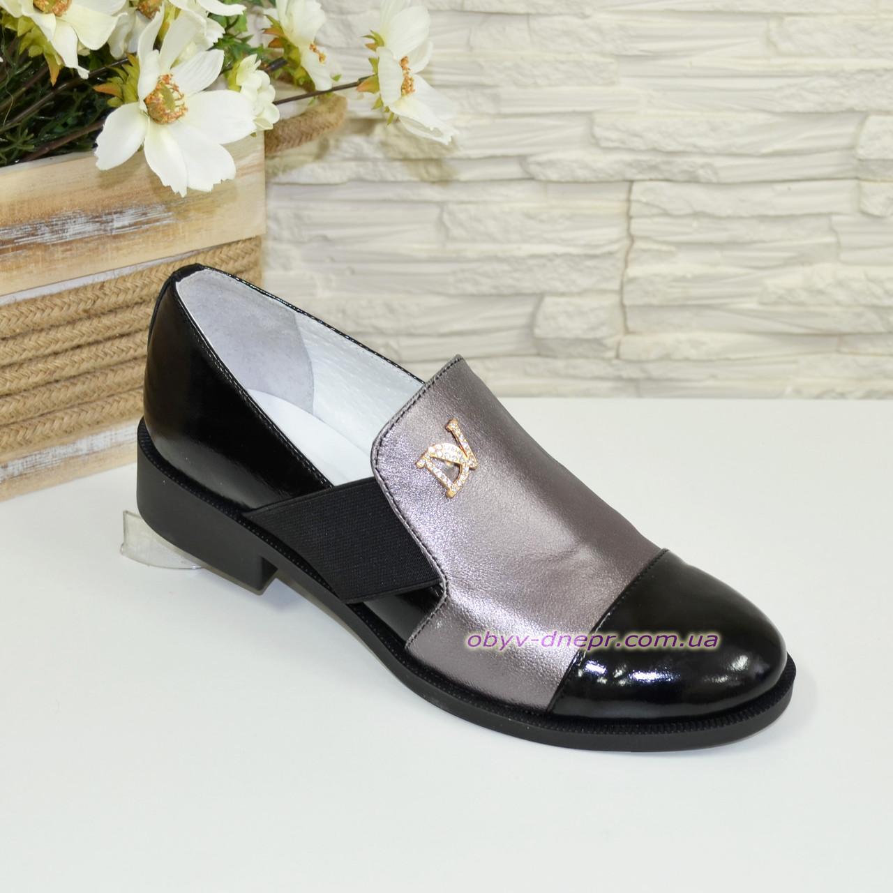Туфли женские на низком ходу, натуральная кожа и лак
