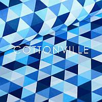 Хлопковая ткань Треугольники сине-голубые
