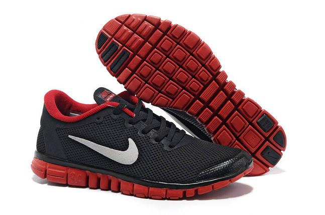 Кроссовки мужские Nike free run 3.0 черно красные, фото 2