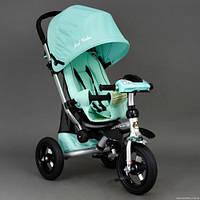 Детский трехколёсный велосипед коляска Бест Трайк Best Trike 698 бирюзовый с фарой. Надувные колёса.