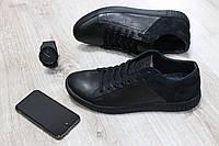 Мужские кожаные кеды черного цвета