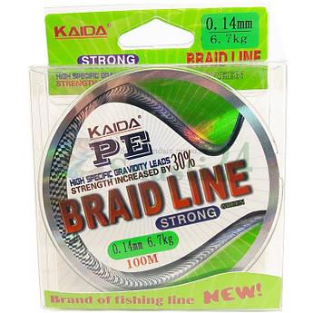 Шнур рыболовный Kaida PE Braid line 100 м ярко зеленый
