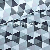 ✁ Відріз бавовняної тканини Трикутники сірих відтінків