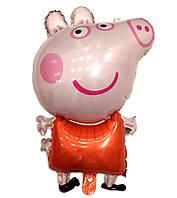 """Фольгированный шар фигурный """"Свинка Пеппа"""" розовая 80х50 см"""