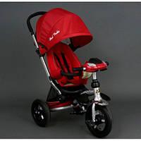 Детский трехколёсный велосипед коляска Бест Трайк Best Trike 698 красный с фарой. Надувные колёса.