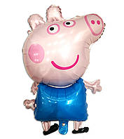 """Фольгированный шар фигурный """"Свинка Пеппа"""" голубая 80х50 см"""