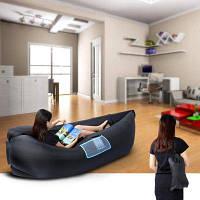 Портативный надувной складной спальный мешок с сетчатым карманом Чёрный