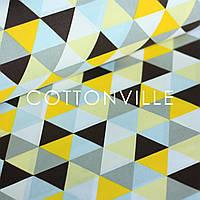 ✁ Отрезы хлопковой ткани Треугольники желто-серые, фото 1
