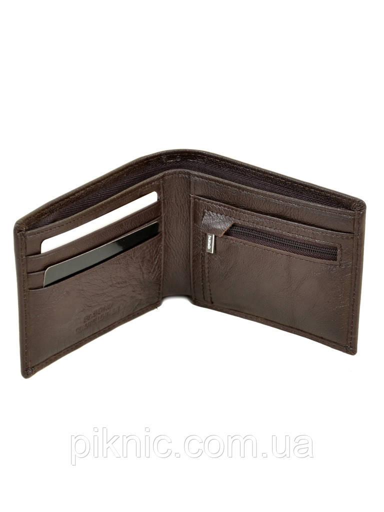 Кожаный мужской кошелек Dr Bond на магните. Натуральная кожа. Коричневый