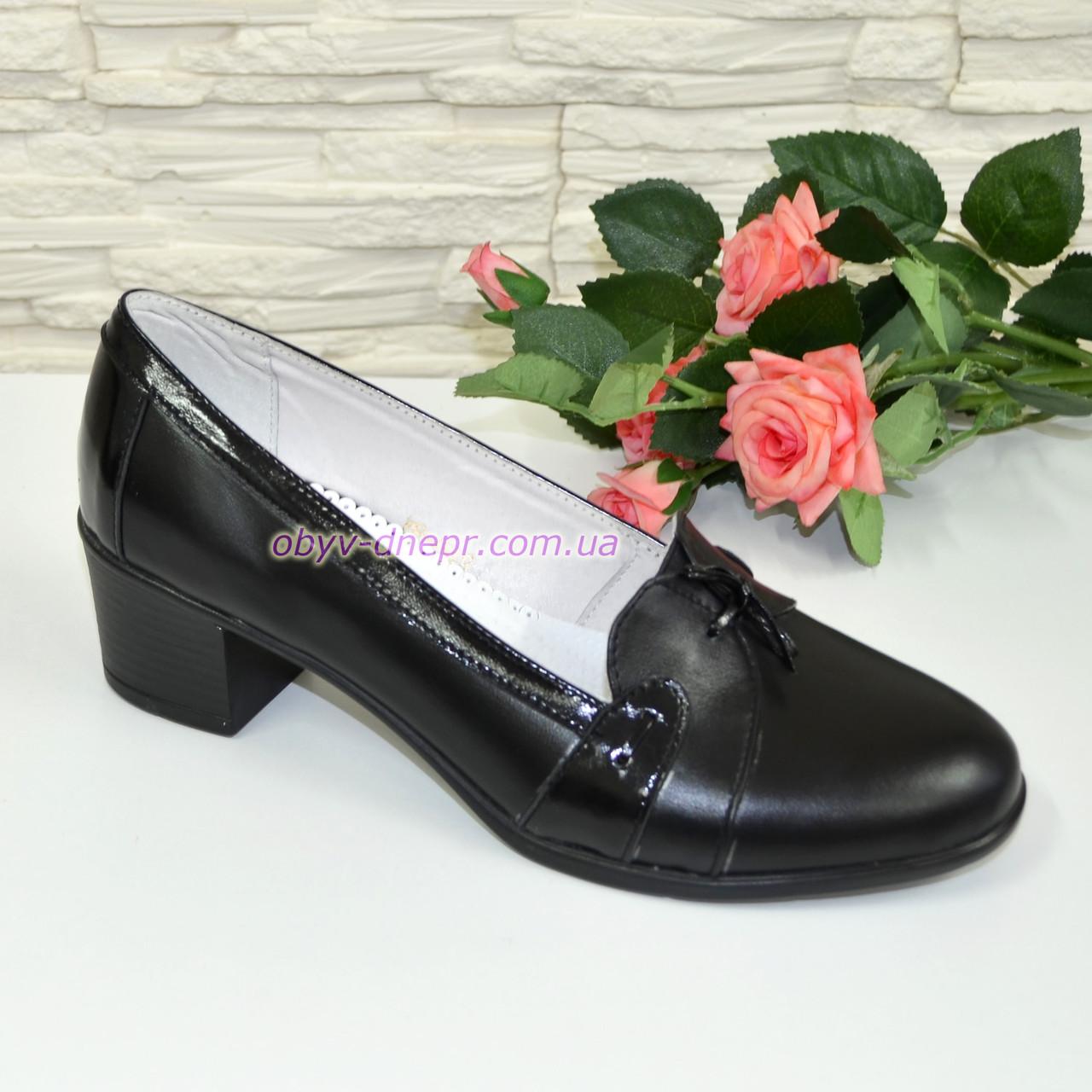 Жіночі туфлі на стійкому каблуці, натуральна шкіра лак.