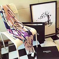 Шелковый шарф палантин Chanel (Шанель) шикарная новинка