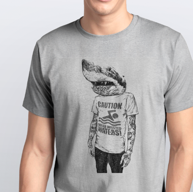 Футболка мужская серая акула человек